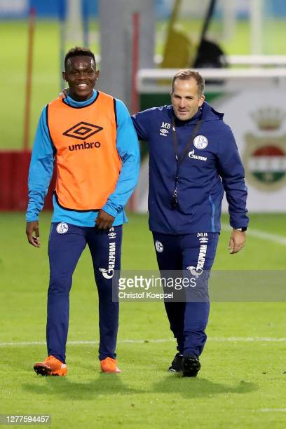 Rabbbi Matondo and head coach Manuel Baum attend the training session of FC Schalke 04 at Parkstadion on September 30, 2020 in Gelsenkirchen, Germany.