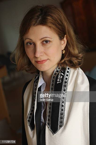 Rabbi Alina Treiger poses while wearing a tallit prayer shawl in the small synagogue on March 31 2011 in Oldenburg Germany Treiger is Germany's first...