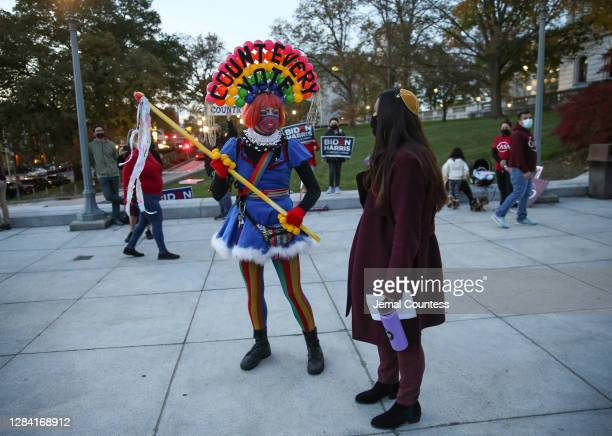 Rabbi Ariana Capptaubar speaks with a demonstrator prior to a Count Every Vote demonstration at Pennsylvania State Capitol on November 05, 2020 in...