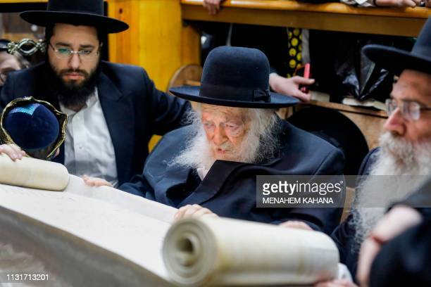 Rabbi Chaim Kanievsky , 93-years-old and one of the main spiritual leader of Ultra-Orthodox Jews, reads the book of Esther during the feast of Purim...