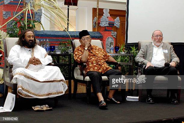 Rabbi Daniel Landes director of the Institute of Jewish Studies in Jerusalem delivers a speech as former Indonesian president and a moderate Islamic...