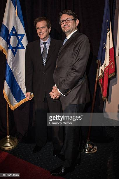 Rabbi David Baron and Consul General of France Axel Cruau attend Shabbat Service Honoring Paris Terrorist Victims And The Legacy Of Dr Martin Luther...
