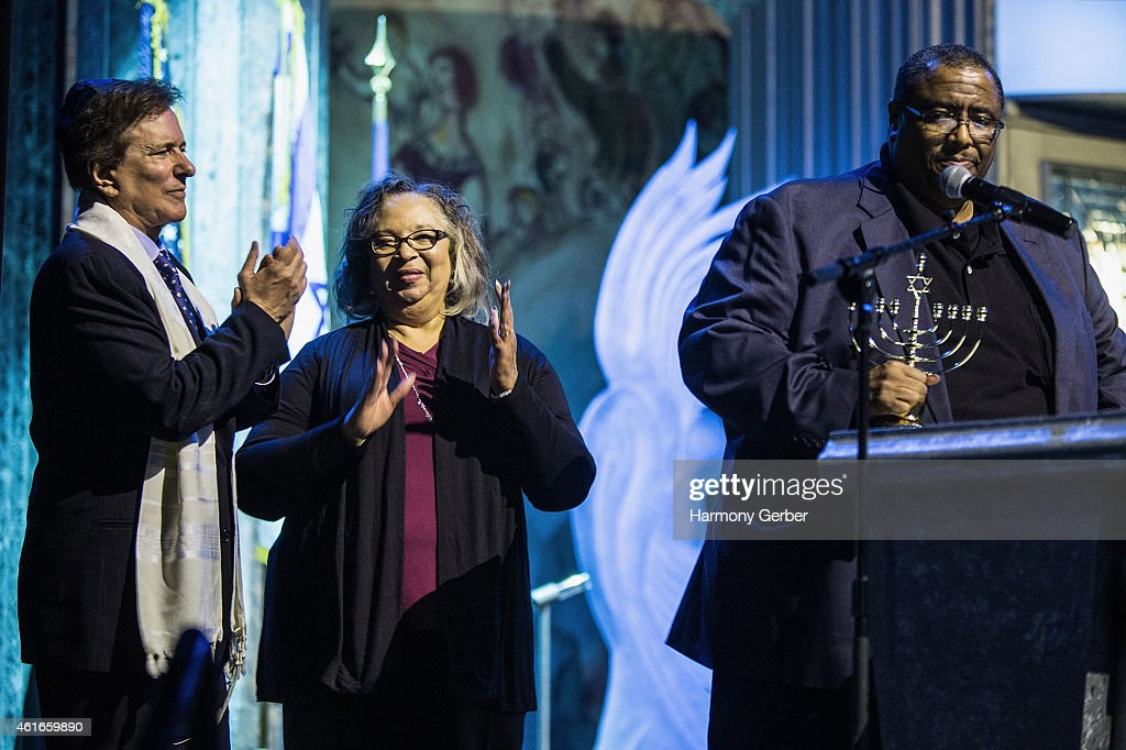 Rabbi David Baron, Sylvia Meyers and Reverend Ronald V. Meyers, Sr. attends Shabbat Service Honoring Paris Terrorist Victims And The Legacy Of Dr. Martin Luther King, Jr. at Saban Theatre on January 16, 2015 in Beverly Hills, California.