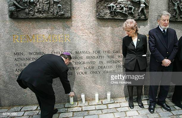 Rabbi Gary BrettonGranatoor lights a candle at the Wall of Remembrance in Dag Hammarskjold Plaza near the United Nations May 5 2005 in New York City...