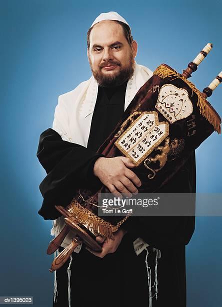 Rabbi Holding Scroll of the Torah
