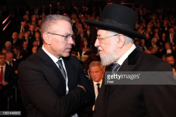 Rabbi Israel Meir Lau, Chairman of the Yad Vashem Council during the Fifth World Holocaust Forum on January 23, 2020 in Jerusalem, Israel. Heads of...
