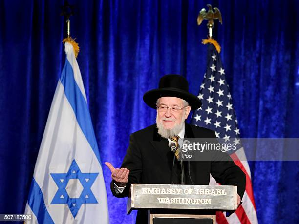 Rabbi Israel Meir Lau chairman of Yad Veshem speaks at the Righteous Among the Nations award ceremony honororing US Master Sgt Roddie Edmonds at the...