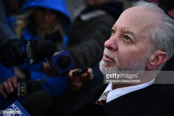 TOPSHOT Rabbi Jeffrey Myers of the Tree of Life synagogue speaks to reporters on October 29 2018 outside the Tree of Life synagogue after a shooting...