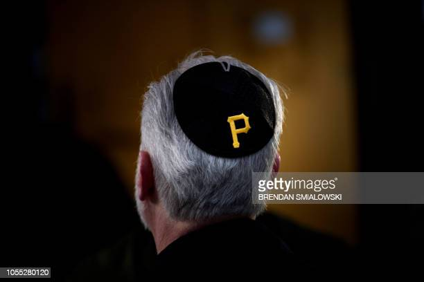Rabbi Jeffrey Myers of the Tree of Life synagogue speaks to reporters outside the Tree of Life Congregation October 29 2018 in Pittsburgh...