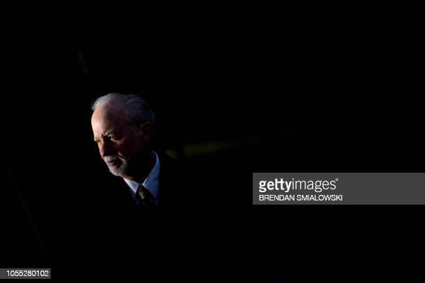 TOPSHOT Rabbi Jeffrey Myers of the Tree of Life synagogue walks to speak to reporters outside the Tree of Life Congregation October 29 2018 in...