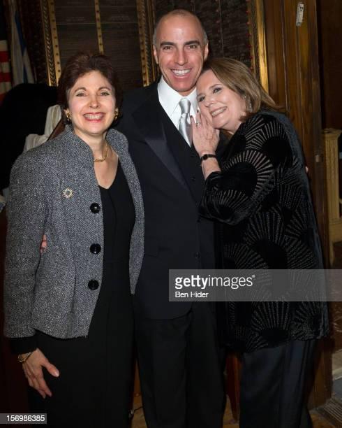 Rabbi Jill Hausman, William Michals and Producer Randie Levine-Miller attend Broadway & Cabaret Community Salute The Actors' Temples at The Actors...