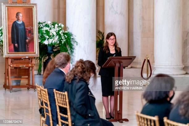 Rabbi Lauren Holtzblatt speaks during a private ceremony for Justice Ruth Bader Ginsburg at the Supreme Court in Washington, DC, on September 23,...