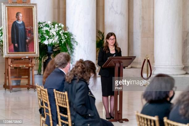Rabbi Lauren Holtzblatt speaks during a private ceremony for Associate Justice Ruth Bader Ginsburg at the U.S. Supreme Court on September 23, 2020 in...