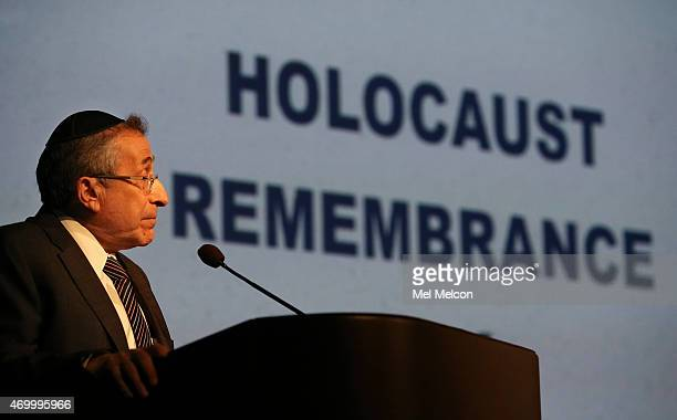 Rabbi Marvin Hier Founder and Dean of the Simon Wiesenthal Center in Los Angeles delivers the keynote address during Holocaust Remembrance Day at the...