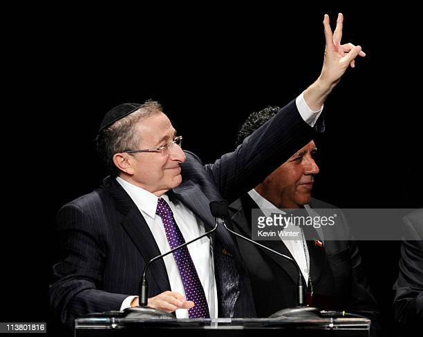 Rabbi Marvin Hier founder and dean of the Simon Wiesenthal Center presents Chilean miner Luis Alberto Urzua Iribarren with the Medal of Valor Award...