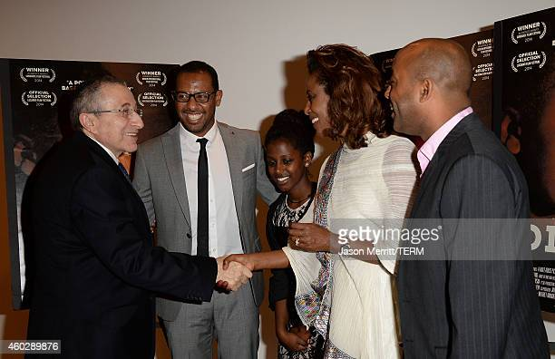 Rabbi Marvin Hier greets Director Zeresenay Behane Mehari Tizita Hagere and Meaza Ashenafi at the Difret special screening and QA at the Museum Of...