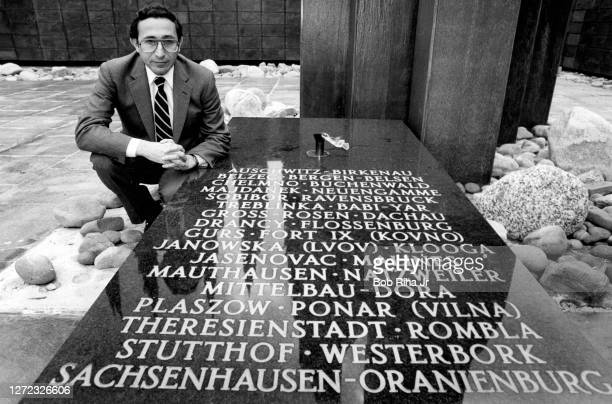 Rabbi Marvin Hier of the Wiesenthal Center in Los Angeles holds copies of Joseph Mengele files, March 14, 1985 in Los Angeles, California. The Center...