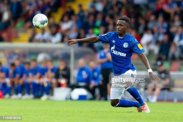 Rabbi Matondo of FC Schalke 04 controls the ball during the preseason friendly match between RW Oberhausen and Schalke 04 on July 07 2019 in...