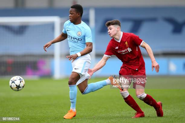 Rabbi Matondo of Manchester City and Neco Williams of Liverpool during the UEFA Youth League QuarterFinal between Manchester City and Liverpool at...