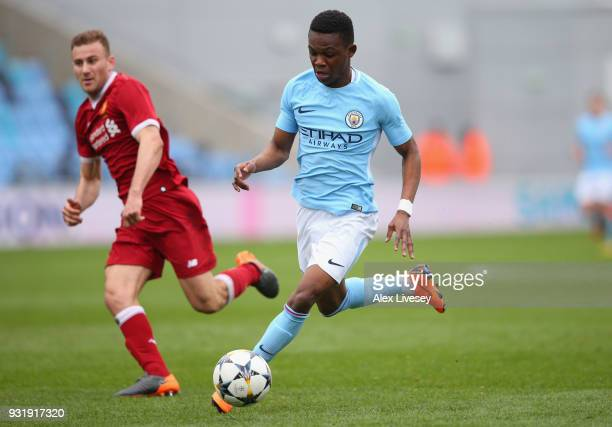 Rabbi Matondo of Manchester City beats Herbie Kane of Liverpool during the UEFA Youth League QuarterFinal match between Manchester City and Liverpool...
