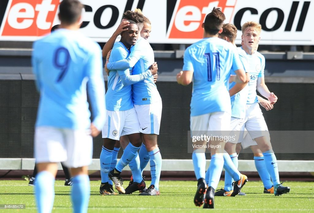 Rabbi Matondo (C) of Manchester City celebrates scoring during the UEFA Youth Champions League group F match between Feyenoord and Manchester City on September 13, 2017 in Rotterdam, Netherlands.