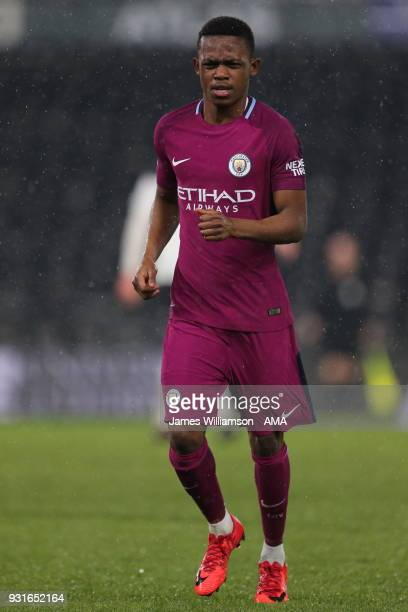 Rabbi Matondo of Manchester City during the Premier League 2 match between Derby County and Manchester City on March 9 2018 in Derby England