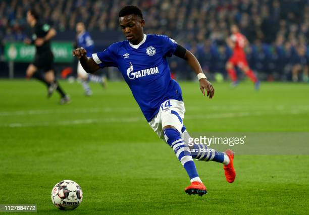 Rabbi Matondo of Schalke runs with the ball during the DFB Pokal Cup match between FC Schalke 04 and Fortuna Duesseldorf at VeltinsArena on February...