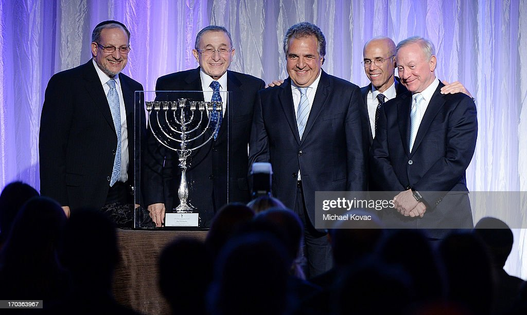 Rabbi Meyer H. May, Rabbi Marvin Hier, Dreamworks Animation CEO Jeffrey Katzenberg, and Larry Mizel present Chairman & Chief Executive Officer of Fox Filmed Entertainment Jim Gianopulos (C) with the 2013 Simon Wiesenthal Center Humanitarian Award at the Simon Wiesenthal Center National Tribute Dinner at Regent Beverly Wilshire Hotel on June 11, 2013 in Beverly Hills, California.