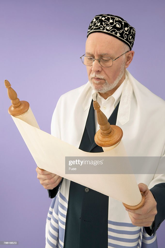 Rabbi Reading from Torah : Stock Photo