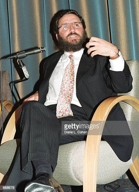 Rabbi Shmuley Boteach a debates the subject of pornography with Playboy Playmate Lindsey Vuolo December 19 2001 at the Makor Cultural Center in New...