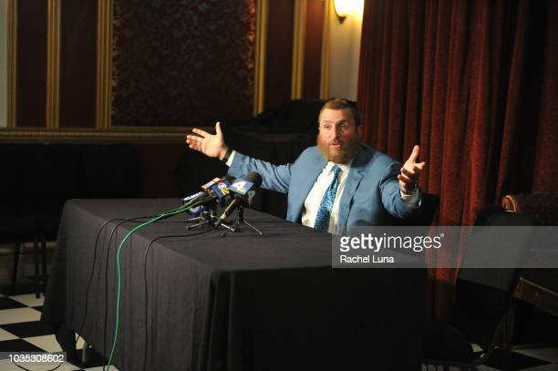 Rabbi Shmuley Boteach addresses the media and speaks on behalf of Roseanne Barr during a press conference prior to the actress and comedian...