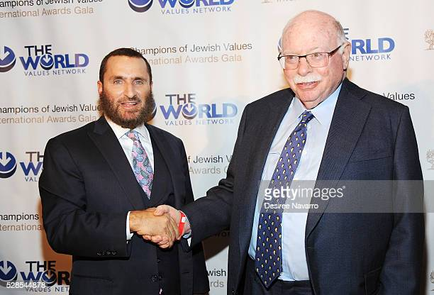 Rabbi Shmuley Boteach and Michael Steinhardt attend the 4th Annual Champions Of Jewish Values International Awards Gala at Marriott Marquis Broadway...