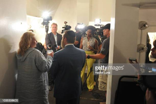 """Rabbi Shmuley Boteach and Roseanne Barr hold a press conference prior to participating in """"Is America a Forgiving Nation?,'' a Yom Kippur eve talk on..."""