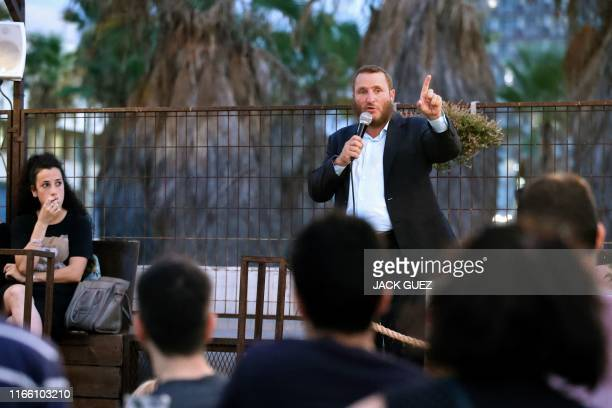 Rabbi Shmuley Boteach, father of Chana Boteach, who runs a kosher sex shop in the Israeli coastal city of Tel Aviv, speaks during a conference on...
