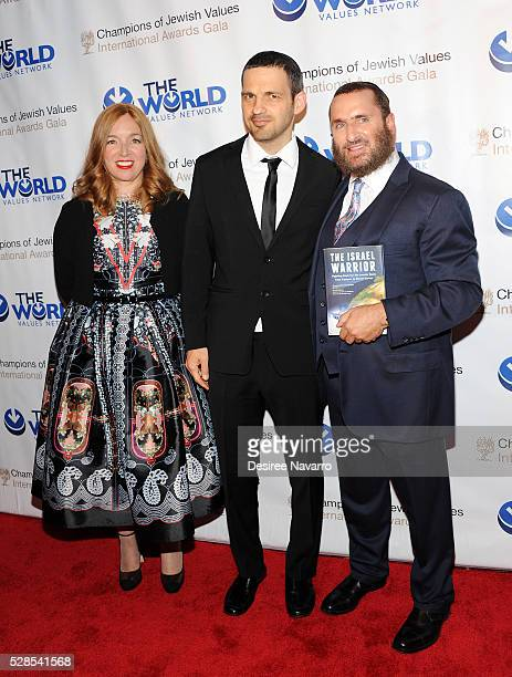 Rabbi Shmuley Boteach with his wife Debbie Boteach, and Geza Rohrig attend the 4th Annual Champions Of Jewish Values International Awards Gala at...