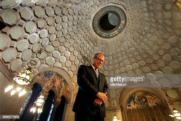 Rabbi Steve Leder stands inside the sancutaury of the Wilshire Boulevard Temple in Los Angeles, on August 29, 2008. The temple which seats 1800...
