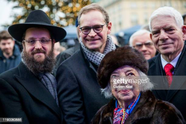 Rabbi Yehuda Teichtal Berlin's Major Michael Mueller Holocaust survivor Margot Friedlander and Josef Schuster President of the Central Council of...