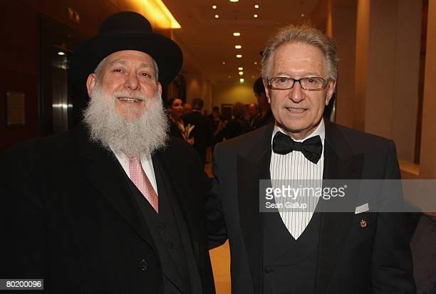 Rabbi Yitshak Ehrenberg and B'nai B'rith Europe President Reinold Simon attend the B'nai B'rith Europe Award of Merit at the Marriot hotel on March...