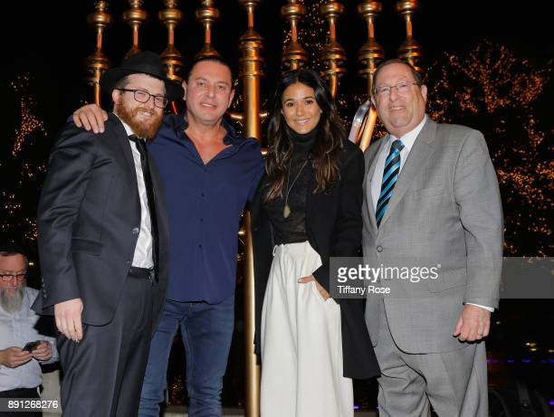 Rabbi Zamy Fogelman Alexander Sachs Emmanuelle Chriqui and Councilmember Paul Koretz at the Village Synagogue and Emmanuelle Chriqui Host Menorah...
