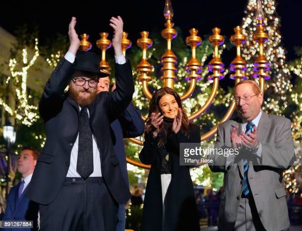 Rabbi Zamy Fogelman Emmanuelle Chriqui and Councilmember Paul Koretz at the Village Synagogue and Emmanuelle Chriqui Host Menorah Lighting Ceremony...