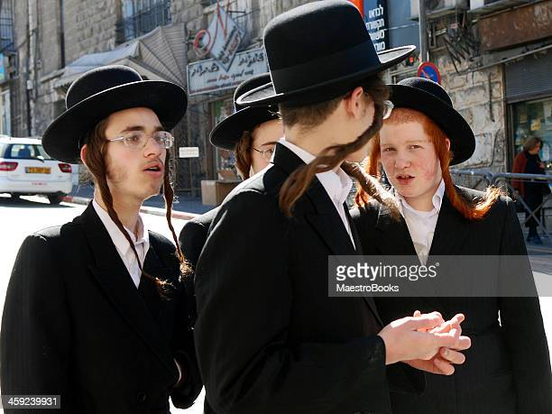 rabbinical students in jerusalem. - hasidic jews stock photos and pictures