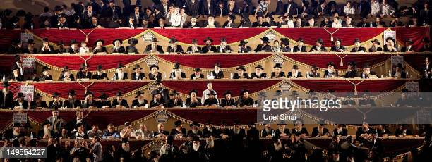 Rabbis gather on a stage as tens of thousands of Ultra Orthodox Jews attend Siyum HaShas a celebration marking completion of a sevenand a half year...