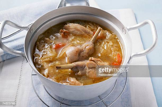 Rabbit and cabbage stew in pan