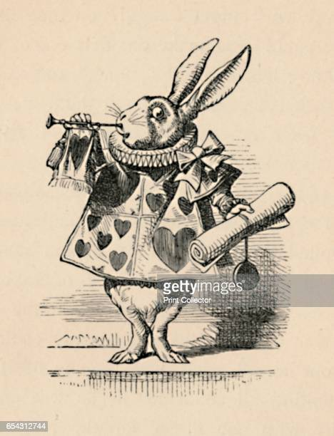 A Rabbit as court official blowing a trumpet for an announcement 1889 Lewis Carrolls Alice in Wonderland as illustrated by John Tenniel From Alices...