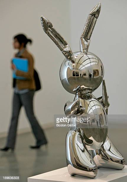A rabbit by Jeff Koons made out of steel in the new Institute Of Contemporary Art museum