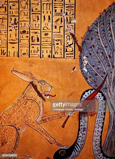 Rabbit Eared Cat Associated with the Sun God Ra Killing Apophis Serpent God of the Underworld Painting From the Tomb of Inherkhaui XX Dynasty