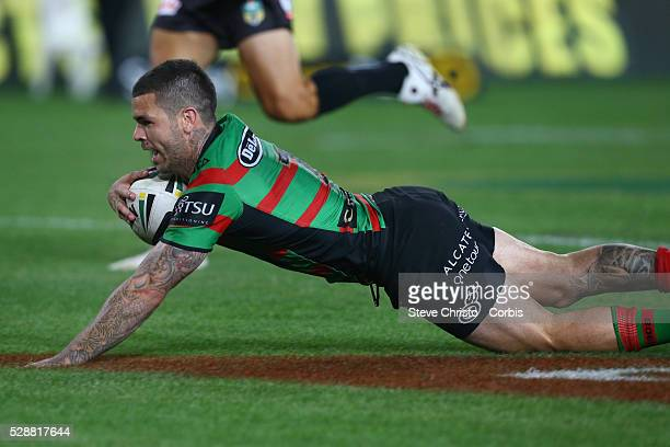 Rabbitohs Adam Reynolds scores a try and celebrates with captain John Sutton during the NRL Grand Final match against the Bulldogs at ANZ Stadium...