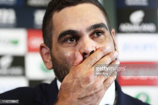 Rabbitohs captain Greg Inglis speaks to the media as he announces his retirement from rugby league during a South Sydney Rabbitohs NRL media...