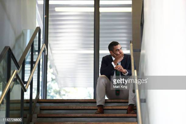 Rabbitohs captain Greg Inglis takes a moment by himself before announcing his retirement from rugby league during a South Sydney Rabbitohs NRL media...