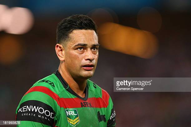 Rabbitohs captain John Sutton looks dejected after losing the NRL Preliminary Final match between the South Sydney Rabbitohs and the Manly Warringah...